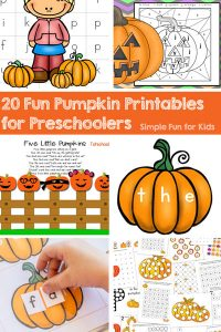 Check out these 20 Fun Pumpkin Printables for Preschoolers (that my kindergartener loves!)! Math, literacy including the alphabet, sight words, CVC words, dot marker printables, and more!