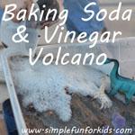 Baking soda and vinegar volcano from an old cloud dough sensory bin - lots of messy fun!