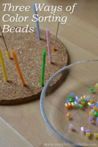 Fine Motor Activities for Kids: Three Ways of Color Sorting Beads