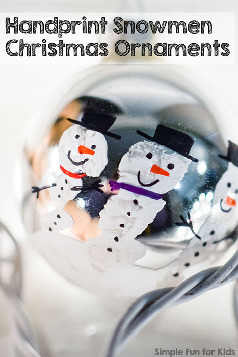 Handprint Snowmen Christmas Ornaments: A super cute quick Christmas craft for kids!