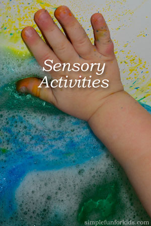 Create invitations to play with sensory activities for your children that engage all their senses: 100+ ideas for sensory activities from Simple Fun for Kids!