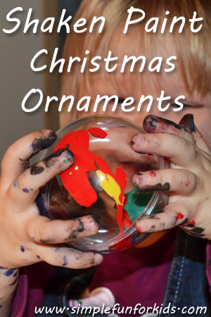 Simple but very pretty kid-made shaken paint Christmas ornaments!