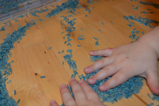 We had lots of fun and spent a lot of time exploring a simple Blue Rice Sensory Tub!