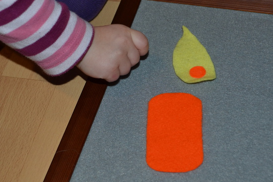 Color matching and size sorting with simple DIY felt candles.