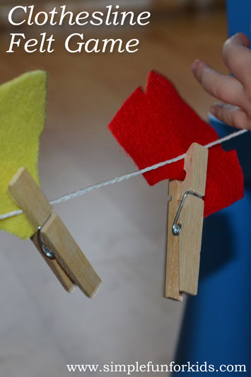 Simple homemade fine motor game for kids: Clothesline Felt Game