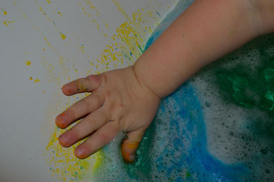 Vibrant colorful bathtub - just add bubble bath and powdered food coloring!