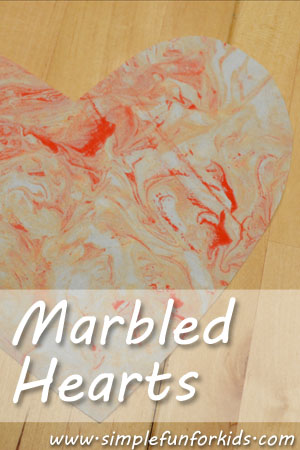 Make simple but stunning Marbled Hearts with your toddler using shaving cream!