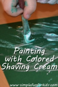 Art for toddlers and a sensory experience at the same time: We painted with colored shaving cream!
