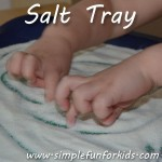 Salt tray sensory fun and an interesting pre-writing activity for toddlers.