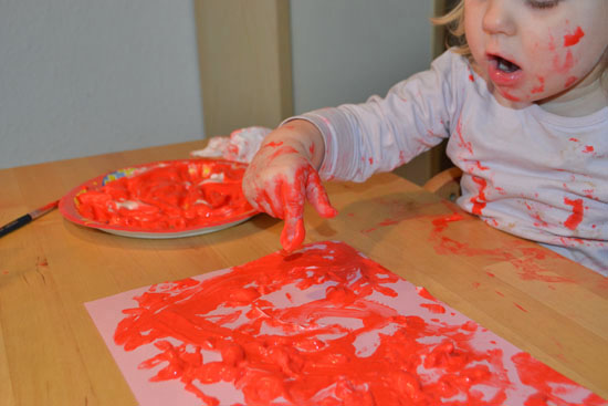 Art and sensory activity for kids: Messy painting with Shaving Cream Puffy Paint is so much fun! My toddler had a blast, but it would be great fun for preschoolers and kindergartners, too.