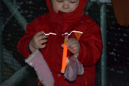 Combine snow, glow sticks and a toddler, have a blast, and get awesome visuals!