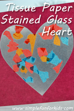 Your toddler can make his own version of a stained glass heart for Valentine's Day!