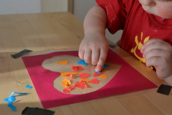 Your toddler can make his own version of a stained glass heart for Valentine's Day (or just for fun)!