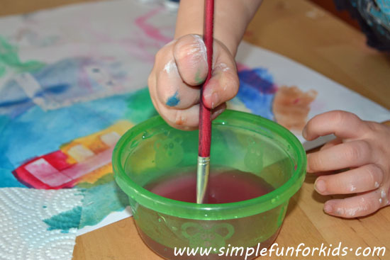 Make sticky tape resist initials by painting with watercolors over sticky tape!