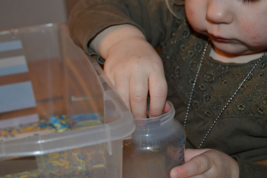 Can you believe we had spiders hiding in our sensory tub??!!