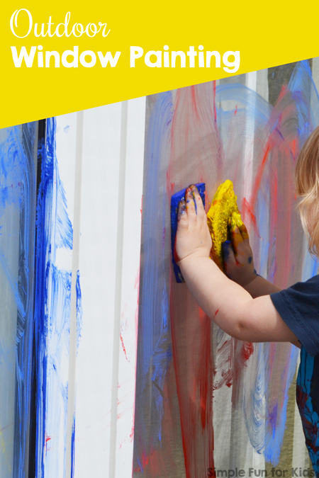 Large-Scale Toddler Art: Outdoor window painting on a big window!