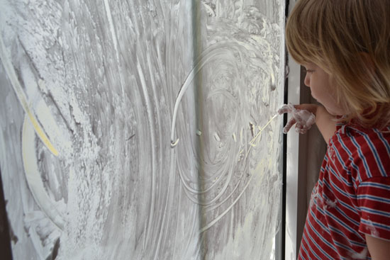 Play with shaving cream on the window. A sensory activity that doubles as writing/pre-writing practice!