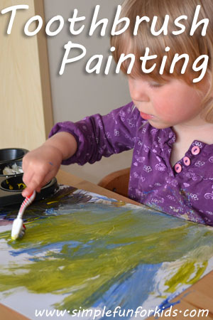Toothbrush painting: A fun way to paint that kept my toddler entertained for more than 30 minutes!