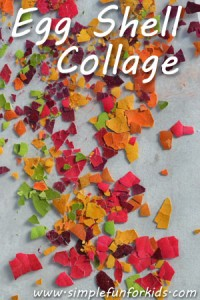 Make a bright and colorful egg shell collage on contact paper!