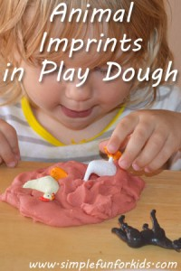 Make imprints with plastic animals in play dough - a fun alternative to cookie cutters, especially for toddlers.