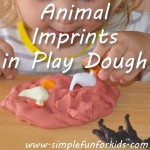 Make imprints with plastic animals in play dough – a fun alternative to cookie cutters, especially for toddlers.