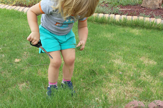 Yes, that's right - let your child help cut the grass!