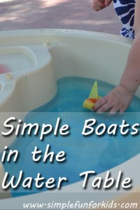 We recently had a pool noodle break on us, so I turned it into simple DIY boats to enhance our water table play.