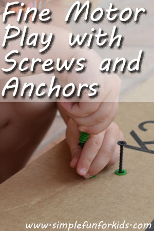 Fine Motor Play with Screws and Anchors