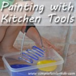 We used kitchen tools for a simple and unusual art activity.