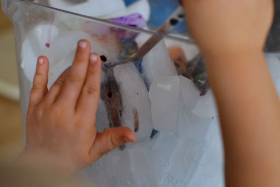 Fun and simple drip painting on ice cubes!