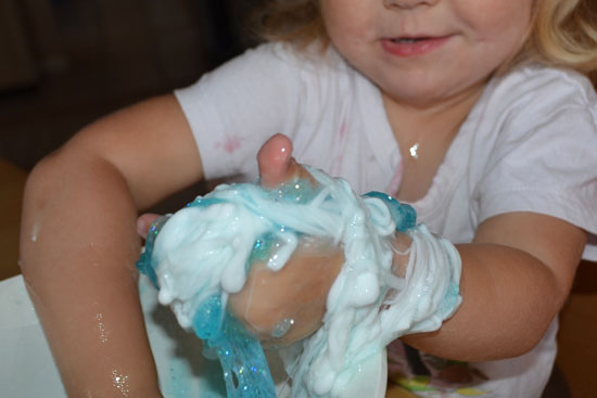 My glitter slime didn't turn out as expected but my toddler turned the glitter slime fail into a sensory win!