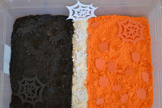 A whole box of Halloween cloud dough - awesome fun!