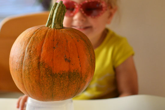 Pour painting - a simple and beautiful way for little ones to decorate their own pumpkins!