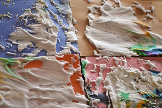 Extending a craft E loves with free exploration of shaving cream and liquid watercolors.