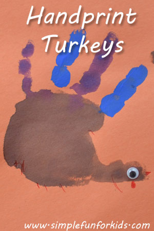 Make Handprint Turkeys with your kids - a simple classic Thanksgiving craft!