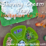 Fun with E's take on my invitation to play with the shaving cream tray!