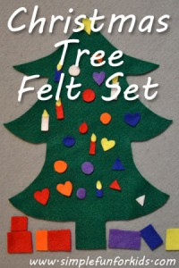 Make a simple Christmas tree felt set for your toddler or preschooler that they can decorate and redecorate over and over again!