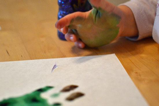 My preschooler's spin on handprint Christmas trees!