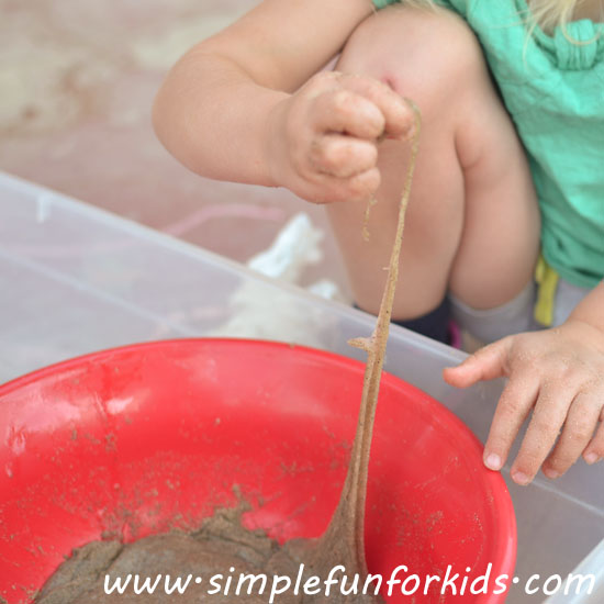 How we made sand slime with LOTS of sand and had lots of fun with it!