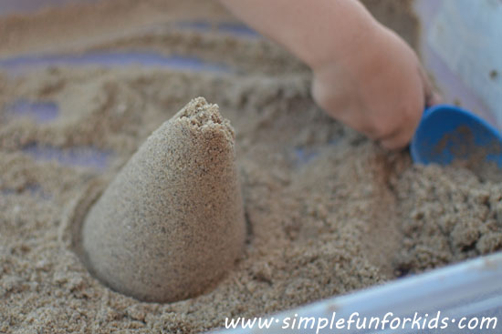 Do your sand creations fall apart too quickly? Make some sticky sand - it's quick, only takes 3 ingredients, and can be used for lots of sensory fun!
