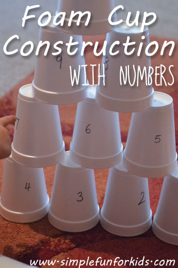 Foam Cup Construction with Numbers