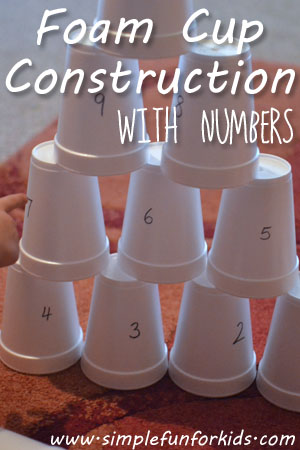Foam Cup Construction with Numbers - extend a simple hand eye coordination game with numbers for more learning fun!
