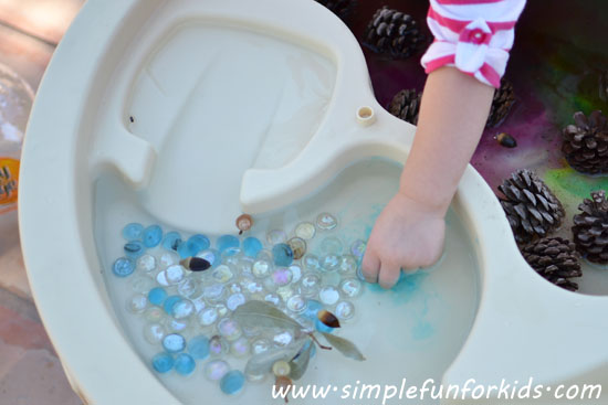 Fun fall water table play with pine cones and acorns!