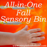 This fall sensory bin had it all: Goop, shaving cream, colored rice, baking soda and vinegar, and more!