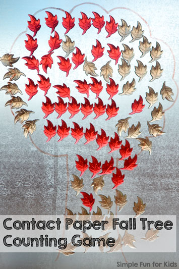 Play a quick and easy Contact Paper Fall Tree Counting Game with your preschooler with simple materials!