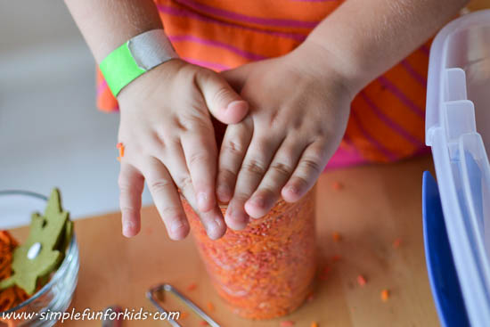 Lots of fun with a simple and pretty fall rice sensory bin!