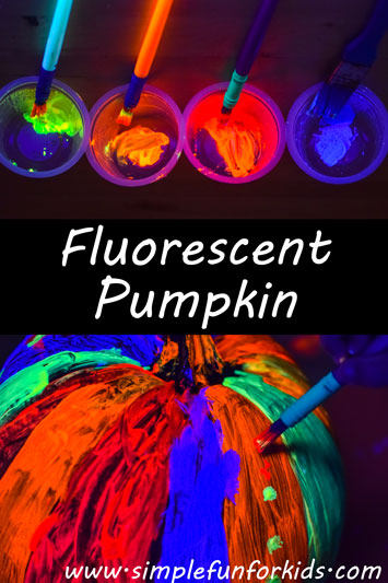 Pumpkin decoration: Make a fluorescent pumpkin with the black light on while painting - it looks SO COOL!