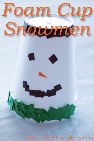 Super cute foam cup snowmen craft for kids: They work on important fine motor skills, there's no mess, and they're finished in minutes!