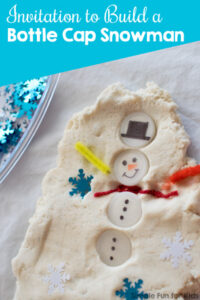Sensory Winter Activities for Kids: Build a bottle cap snowman in play dough!