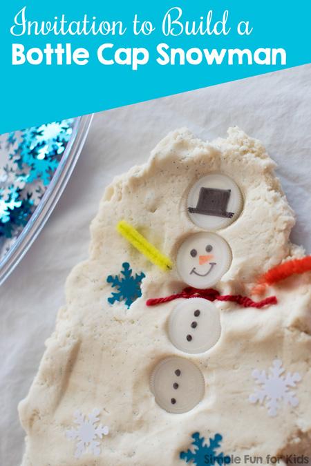 Sensory Winter Activities for Kids: Build a bottle cap snowman in play dough!
